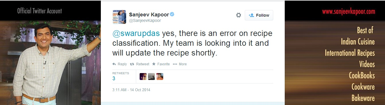 Saneev kapoor accepts mistake
