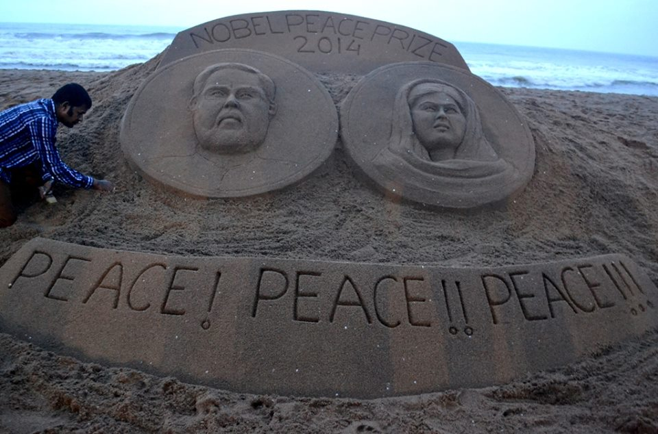 sandart for nobel peace prize winners
