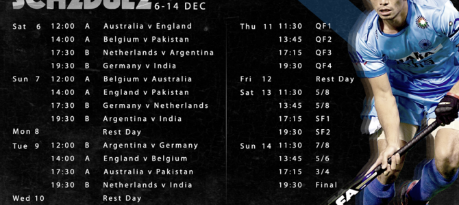 Champions Trophy hockey in Bhubaneswar  – Full Schedule
