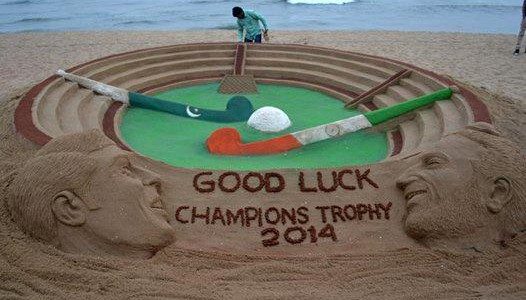 Sandart in Odisha beach for India vs Pakistan Hockey champions trophy at Bhubaneswar