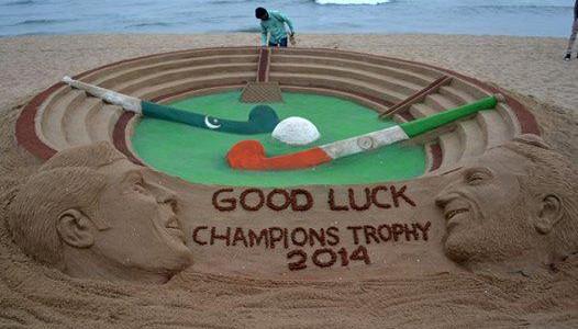 Sandart in Odisha beach for India vs Pakistan Hockey champions trophy at Bhubaneswar