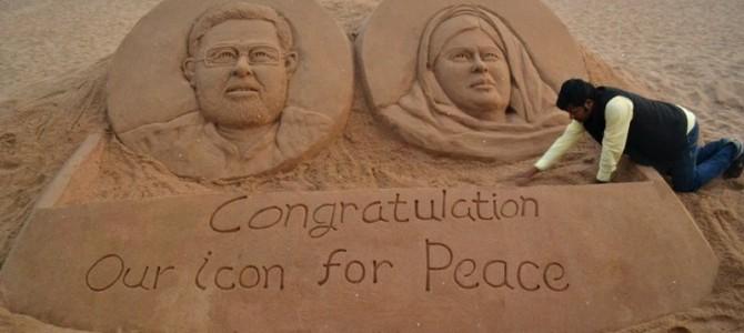 Sandart from Odisha beach by Sudarshan Pattnaik for Nobel Winners