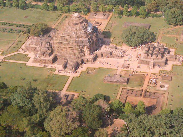 konark sun temple aerial view