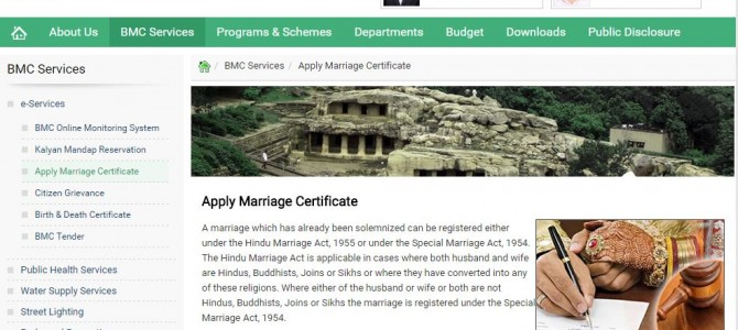 BMC brings services Online, Marriage certificate application now a click away