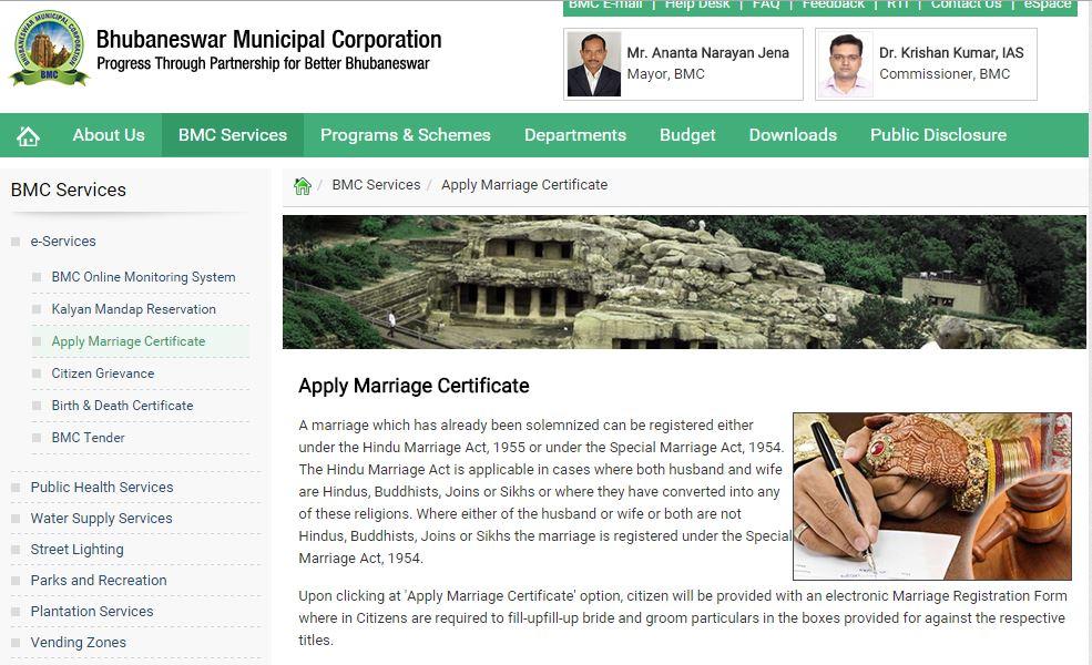 BMC marriage certificate online bhubaneswar buzz