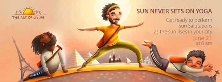 Yoga day event by sri sri university