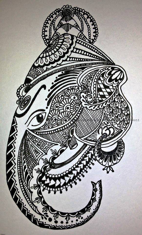 awesome doodle art on occasion of ganesh puja by salvwi