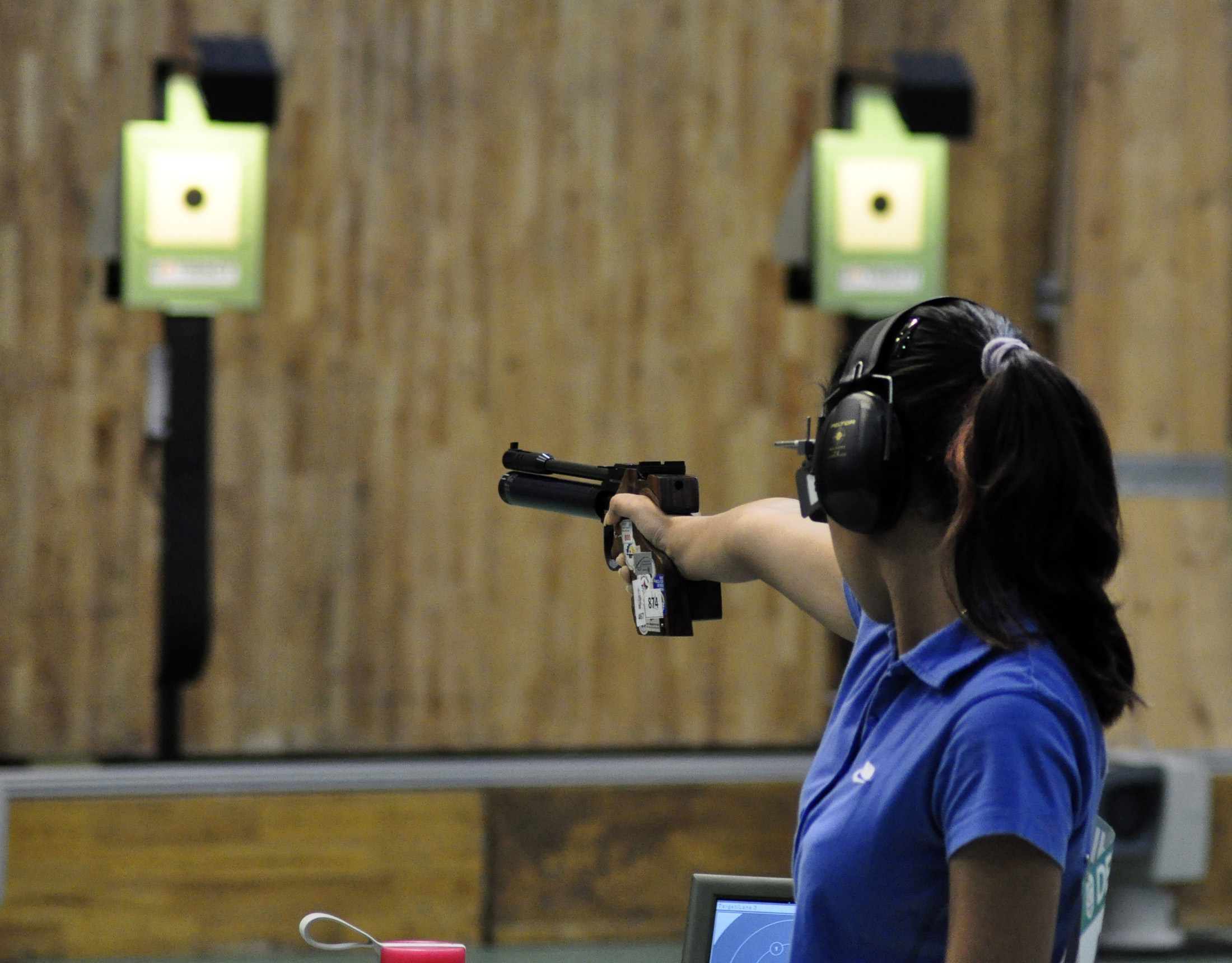 XIX Commonwealth Games-2010 Delhi: (Women's Singles 10 m Air Pistol Final) Heena Sidhu of India in an action at Dr Karni Singh Shooting Range in Delhi on October 13, 2010. India won the Silver medal. P D Photo by Pratap Vinayagam