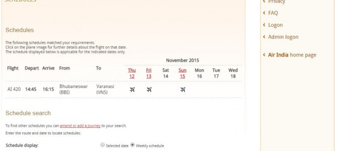 Bhubaneswar to Varanasi Direct Flights by Air India starts Nov 8