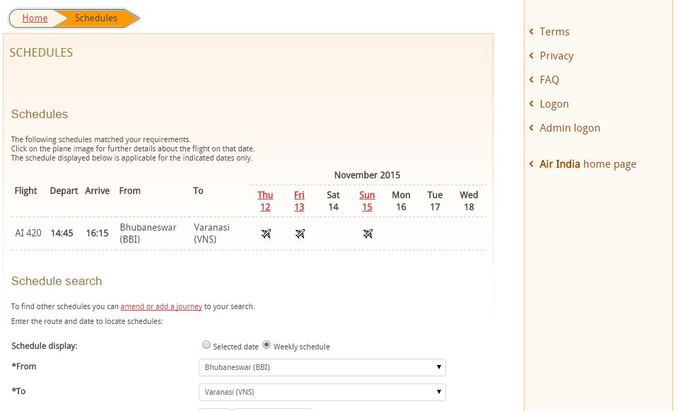 bhubaneswar to varanasi flight schedule nov 8