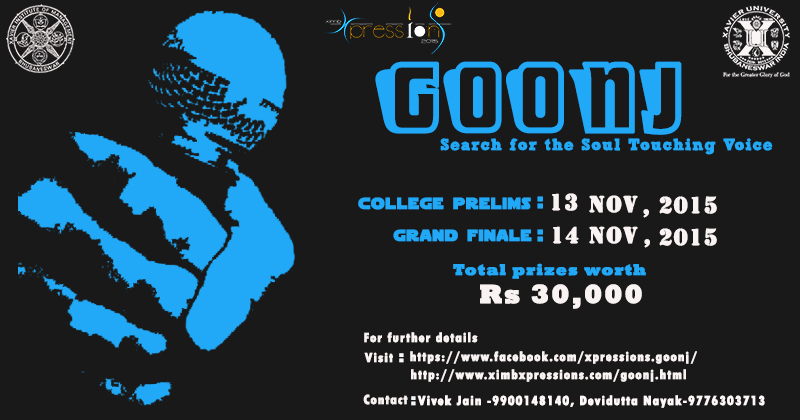 goonj XIMB singing competition bhubaneswar buzz