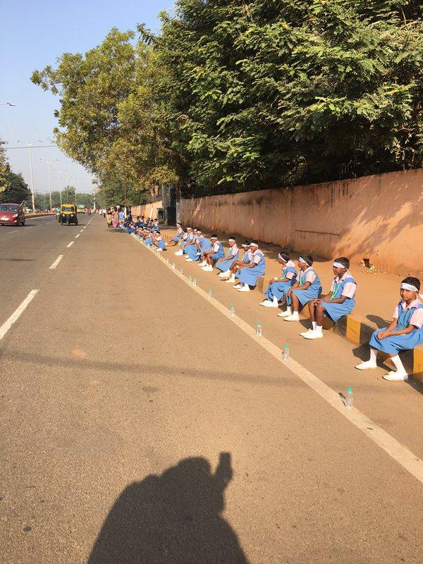 KISS bhubaneswar human chain guiness record