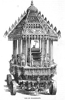 (The Car of Juggernaut, as depicted in the 1851 Illustrated London Reading Book Juggernaut cart in the ulsoor temple complex in Bangalore, India, around 1870)