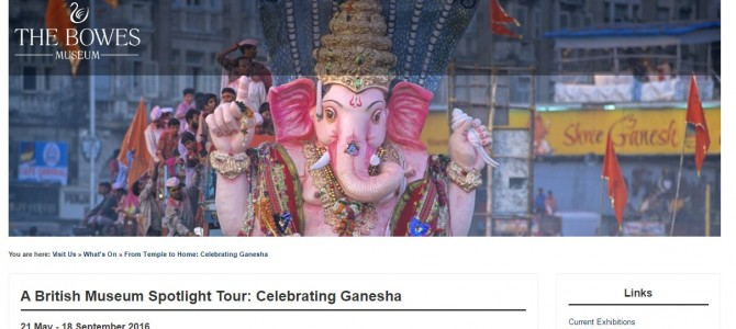 "Bowes Museum in England is having ""Celebrating Ganesha"" with Idol Carved in Odisha"