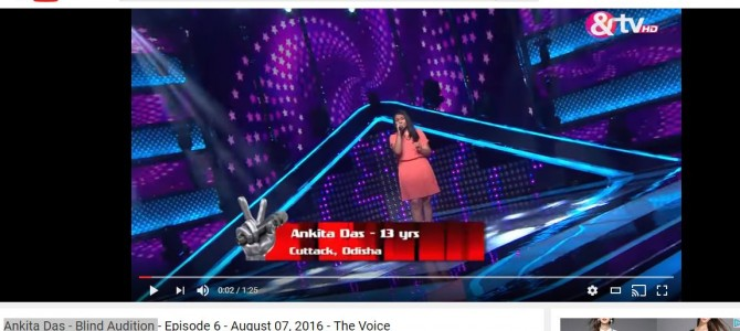 Presenting Ankita Das of Cuttack : Selected for And TV The Voice Kids in first round