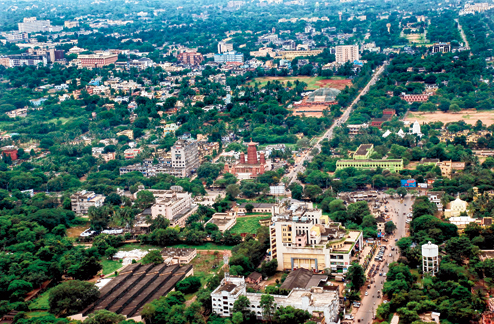 bhubaneswar city aerial view