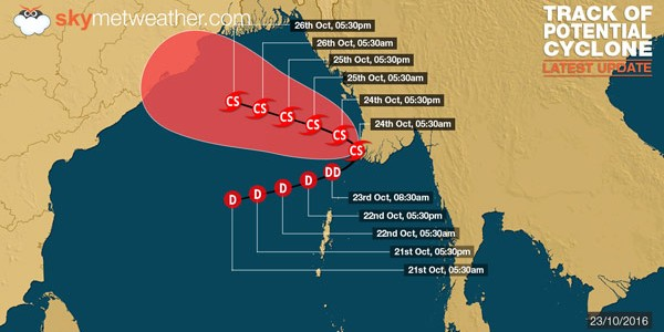 Latest Status on Potential Cyclone / Deep depression over Bay of Bengal from Skymetweather