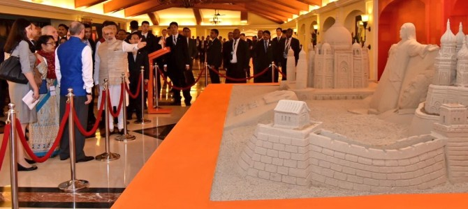 PM Narendra Modi himself showcases Sudarsan Pattnaik Sandart to BRICS premiers made of sand from all these countries