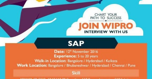 Working in SAP Technology? Check out Walkin by WIPRO for bhubaneswar location