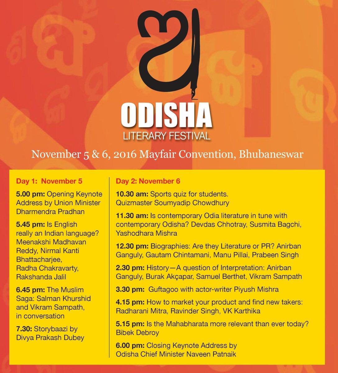odisha literary festival 2016 schedule