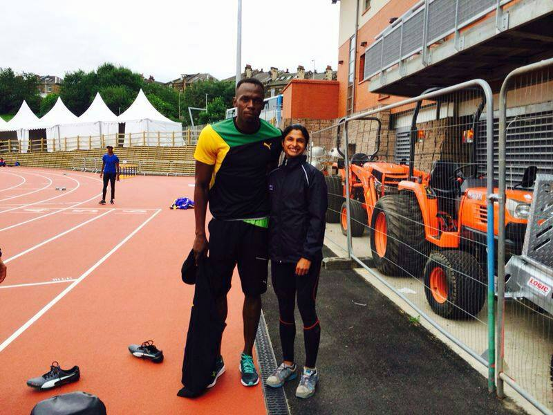 Srabni Nanda+Usain Bolt jamaica bhubaneswar buzz