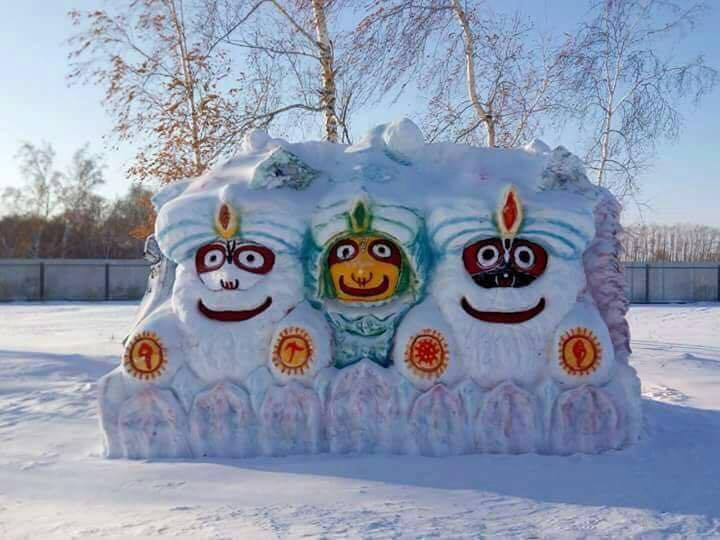 Jagannath trinity in snow in siberia