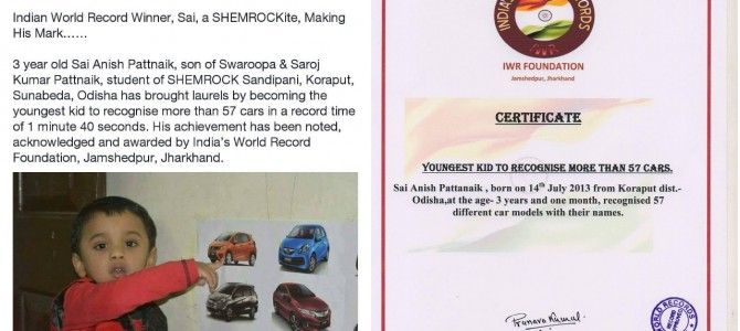 Heard about 3 year old Anish Pattnaik of Sunabeda Odisha? India Record holder and Brand ambassador of Shemrock