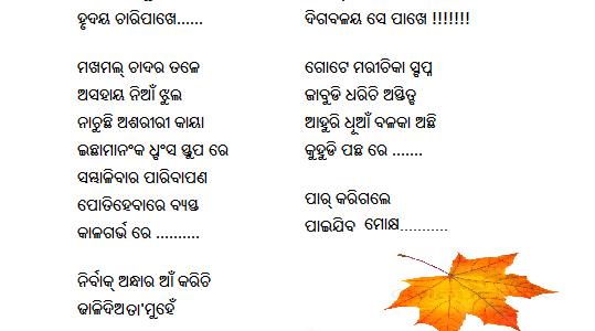 A nice Odia Poem Written by Nishipadma Subhadarshini