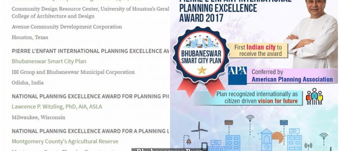 Bhubaneswar becomes 1st indian city to win presitigious American Planning Association award for Smart city plan