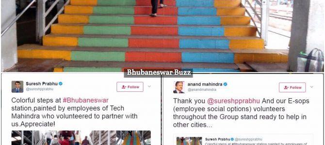 Suresh Prabhu praises Tech Mahindra Bhubaneswar employees for helping paint Staircase of BBSR Station