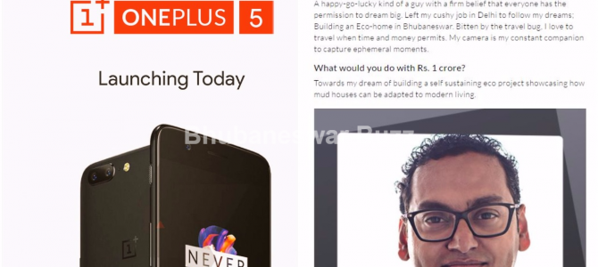 Soumya Mukherji of Bhubaneswar wins Rs 1 crore in the contest from One Plus 5 launch