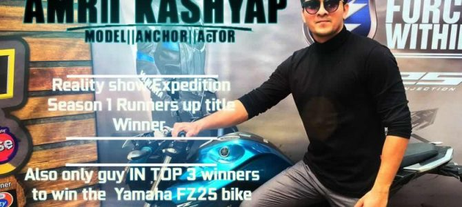 Amrit Kashyap from Rourkela wins RUNNERS up title as a reality show contestant for Yamaha fz25 presents EXPEDITION Season 1 on Zee Zing