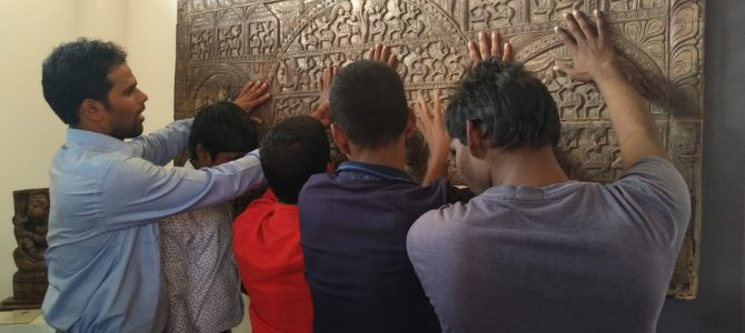Visually challenged students visit purvasa folk and tribal art museum at barakul