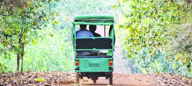 Battery Operated Vehicle for Tour and Rock climbing starts in Chandaka Sanctuary