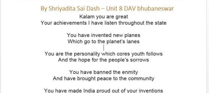 A small poem on Dr Kalam by a Unit 8 DAV school student : Shriyadita