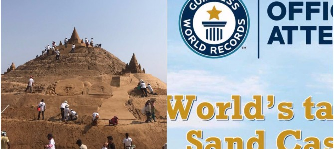 Sudarsan Pattnaik attempting Guinness Record for World's Tallest Sand Castle in Puri Odisha