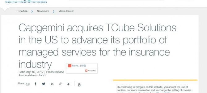 Capgemini Press Release on acquiring Bhubaneswar based TCube Solutions