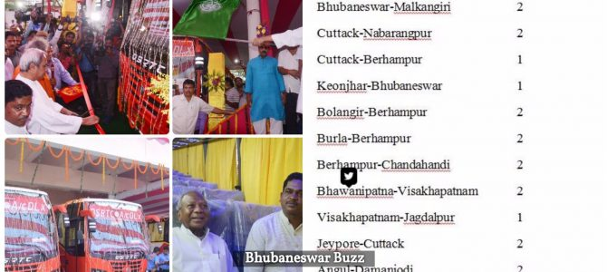 Chief minister Naveen Patnaik flagged off 20 buses including 19 AC buses to ply in different routes of the state and neighboring state
