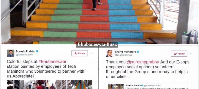 Suresh Prabhu praises Tech Mahindra Bhubaneswar employees for helping paint Staircase of BBSR Station