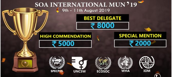 SOA International Model United Nations 2019 scheduled to start on 9th August 2019